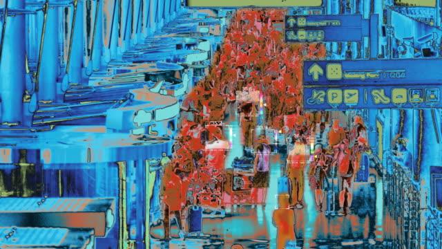 熱成像掃描到達的乘客 - 亞太地區 個影片檔及 b 捲影像