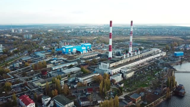 thermal power plant. aerial view from drone - centrale termoelettrica video stock e b–roll