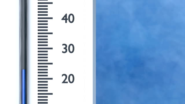 Thermometer shows decreasing temperature in Celsius degrees. video