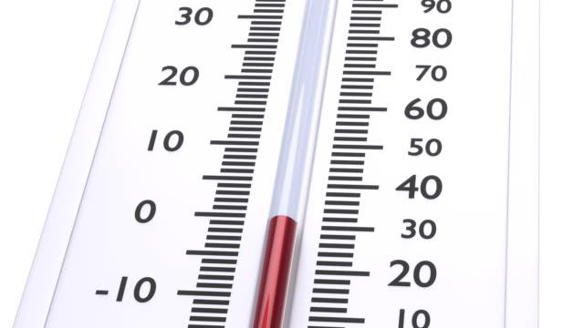vidéos et rushes de thermomètre à température rouge décroissante. - abaisser