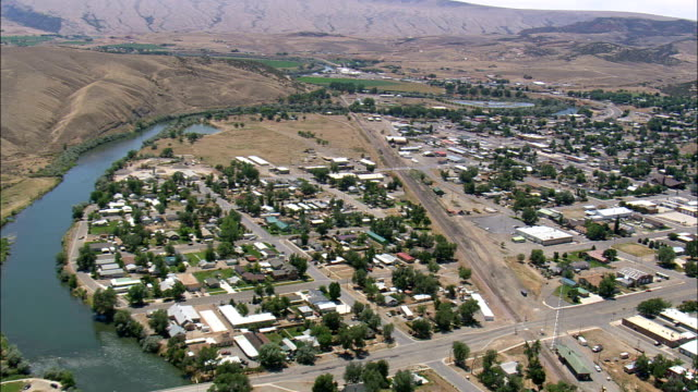 Thermopolis  - Aerial View - Wyoming,  Hot Springs County,  helicopter filming,  aerial video,  cineflex,  establishing shot,  United States video