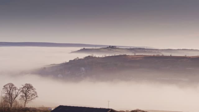 Thick Fog in Rural Yorkshire Valley - Drone Shot video