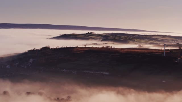 Thick Fog Sitting in Worth Valley, West Yorkshire - Drone Shot video