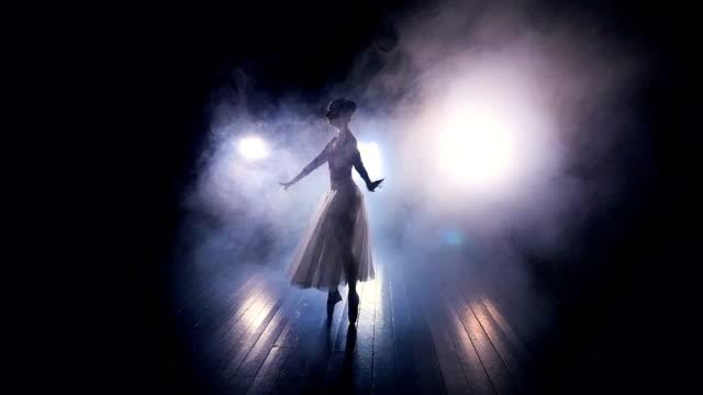 A thick fog surrounds a dancing ballerina. video