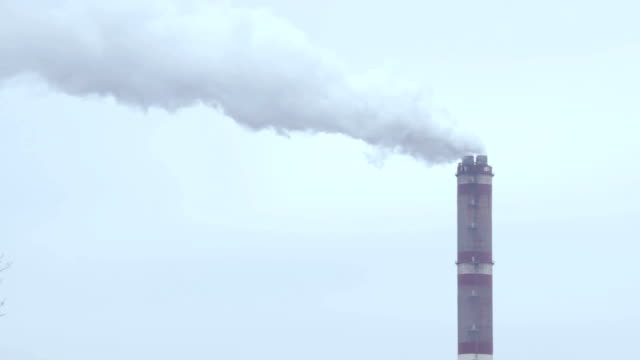 Thick Gray Smoke Power Plant Chimney. Air Pollution Concept. video