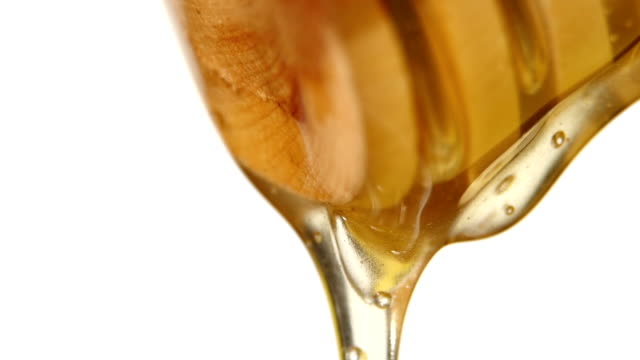 Thick honey dipping, on white, close up, slow motion video