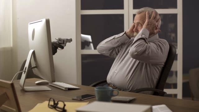 Thief hacker attack on a senior's computer