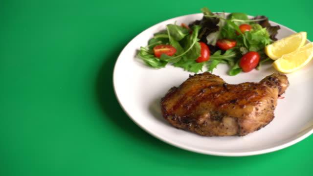 thigh chicken steak thigh chicken steak roast dinner stock videos & royalty-free footage