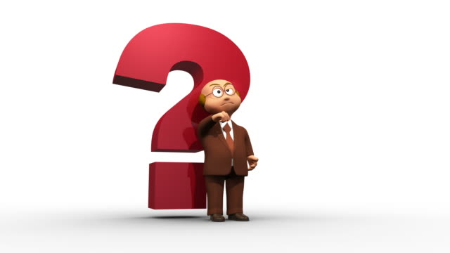 Thinking 3D Business Character With Big Red Question Mark video