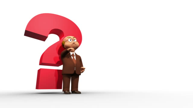 Thinking Cute 3D Character With Big Question Mark video
