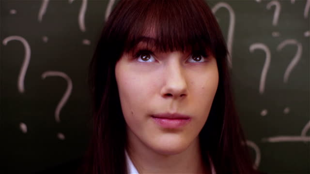 thinking girl in school video