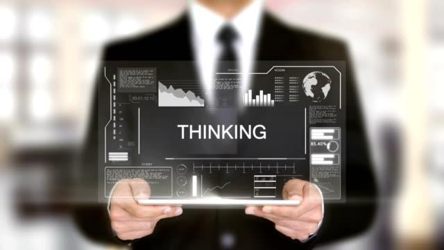 Thinking, Hologram Futuristic Interface, Augmented Virtual Reality Thinking, Hologram Futuristic Interface, Augmented Virtual Reality office illustrations videos stock videos & royalty-free footage