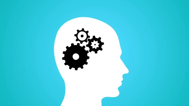 thinking man concept whirling gears and cogs loop blue - testa video stock e b–roll