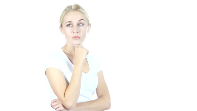 Thinking, Portrait of Pensive Woman, Planning, White Background video