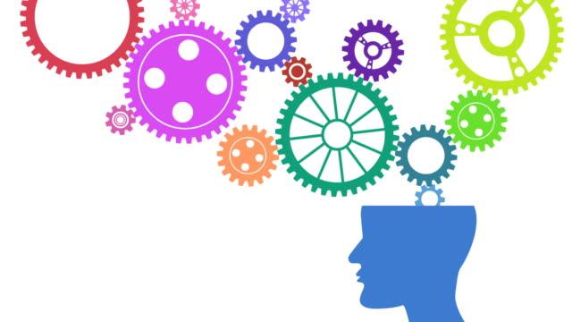 vidéos et rushes de pensée animation vidéo: engrenage et le cerveau - rouage mécanisme