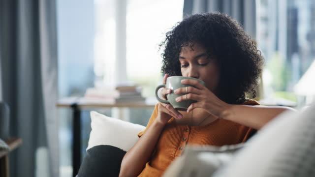 this coffee taste how i feel - pausa caffè video stock e b–roll