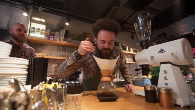 this will be some good coffee - decanter video stock e b–roll