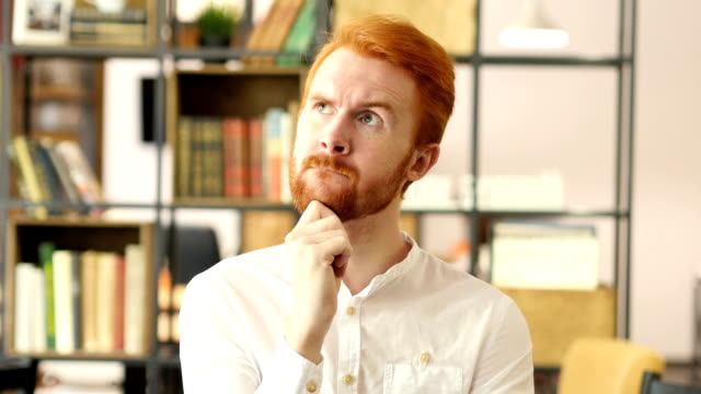 Thoughtful in office, Businessman Thinking about new project video