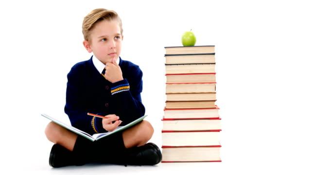 Thoughtful schoolboy doing her homework video