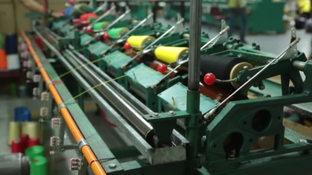Threading Machines in Textile Factory video
