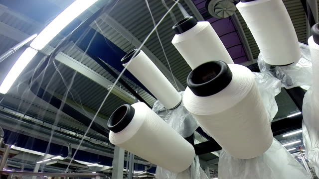 Threads and Spools in Textile Factory video
