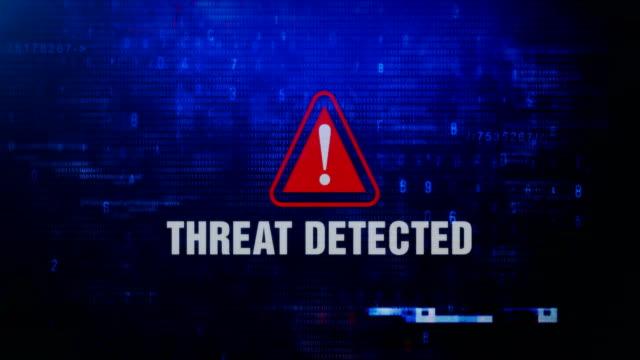 varnings meddelande om att hot upptäcks blinkar på skärmen. - hotelse bildbanksvideor och videomaterial från bakom kulisserna
