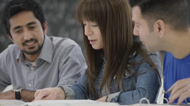 Three Adult Students Study Together in School