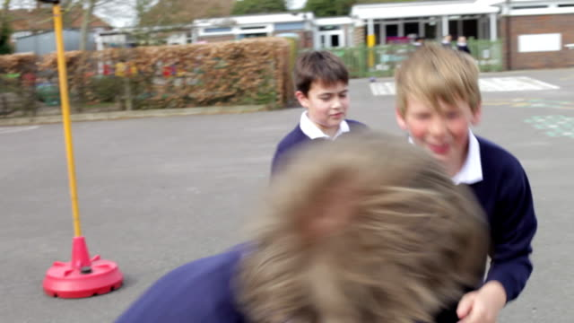 Three Boys Fighting In School Playground video