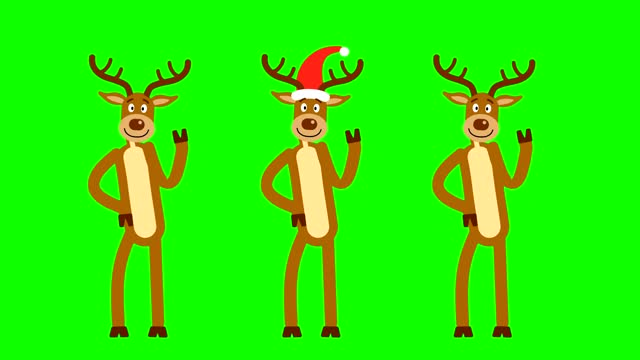Three Christmas reindeer in red caps
