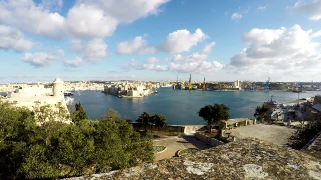 Three Cities as seen from Valletta, Vittoriosa, Senglea, Cospicua, Malta, Time Lapse video