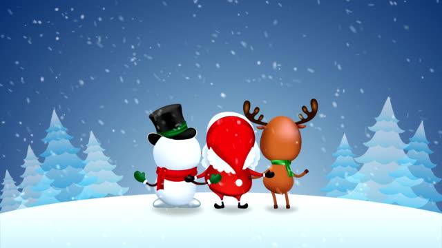 drei gefährten tanzen genießen. - weihnachtskarte stock-videos und b-roll-filmmaterial