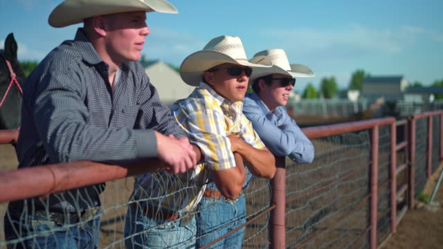 three cowboys having conversation and getting ready for riding in rodeo arena - ранчо стоковые видео и кадры b-roll
