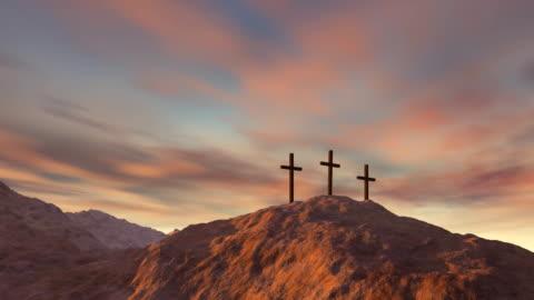 three cross on Calvary Religion, cross extreme terrain stock videos & royalty-free footage