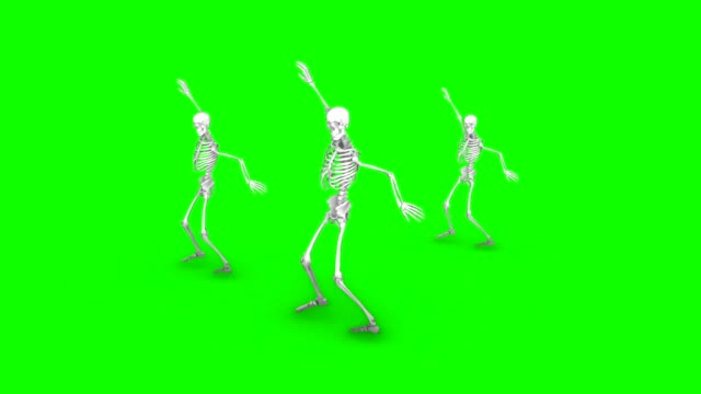 Three dancing skeletons on an isolated green background, seamless loop animation