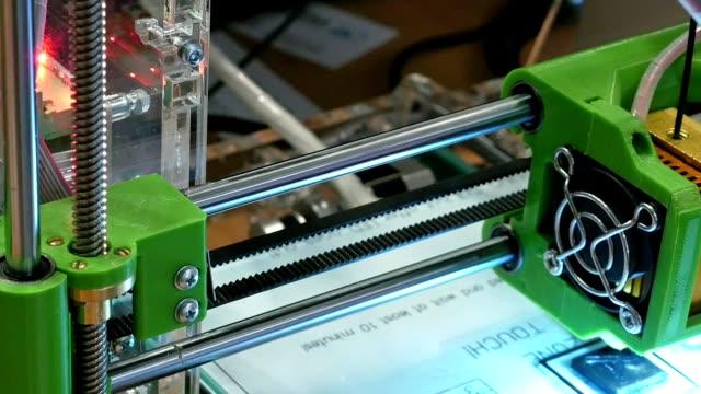 Three dimensional plastic 3d printer in laboratory video