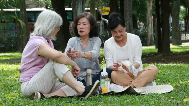 Three Elderly Taiwanese Ladies Having Picnic At Park