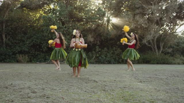 SLO MO Three female hula dancers performing at sunset video