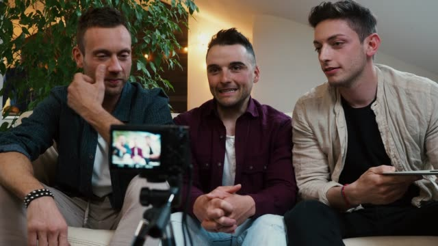 Three friends doing a vlog video together