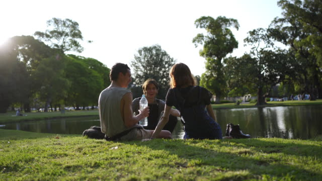 Three friends enjoying the day by the lake Three friends enjoying a relaxing day at a public city park next to a lake. picnic stock videos & royalty-free footage