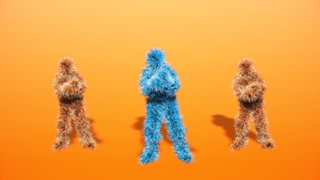 three funny hairy colorful characters dancing gangnam style against orange background - bigfoot video stock e b–roll