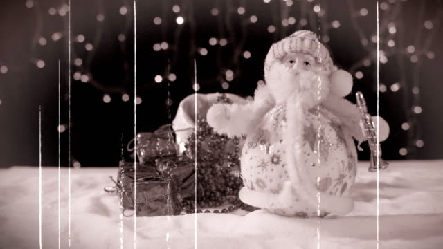 three funny musicians santa claus with their gifts are having fun, dancing, celebrating and congratulating in the whirling snow and at the end the inscription happy new year. - christmas movie video stock e b–roll