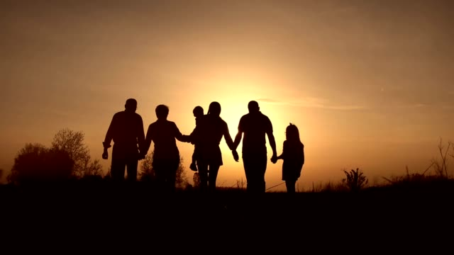 three generation family walk in meadow at sunset - sunset stock videos & royalty-free footage