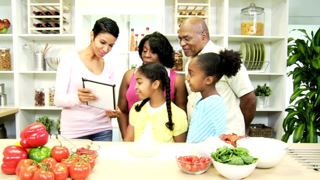 Three Generations Ethnic Family Kitchen Wireless Tablet video