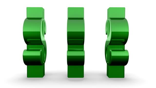 vídeos de stock e filmes b-roll de três sinais de fiação verde dólares - três objetos