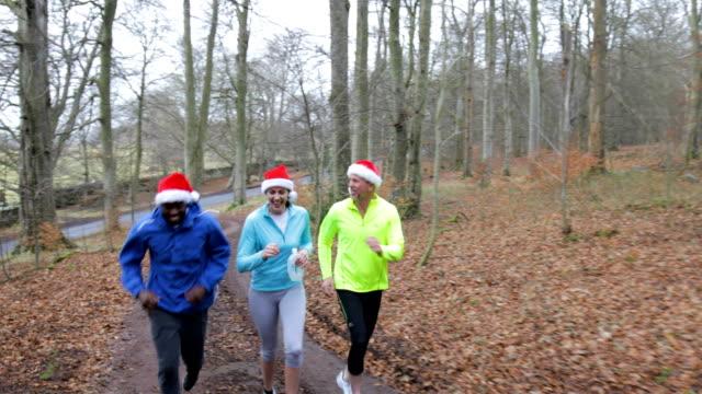 クリスマス フォレスト内のトレイルをジョギングを 3 つ - サンタの帽子点の映像素材/bロール