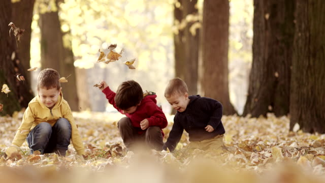 Three kids having fun with autumn leaves video