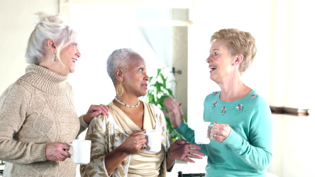 Three multi-ethnic senior women conversing over coffee video