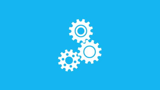 vídeos de stock e filmes b-roll de three rotating gear mechanism - três objetos
