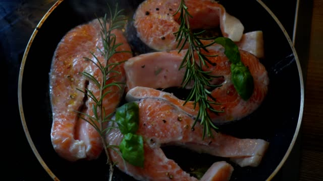 three salmon in the pan three salmon in the pan sesame stock videos & royalty-free footage