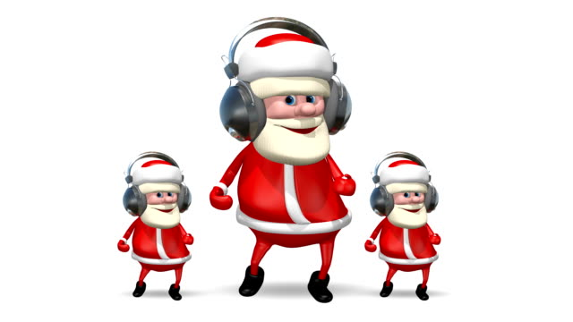 Three Santa Dancing in Headphones video